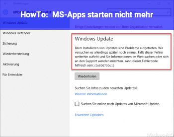 HowTo MS-Apps starten nicht mehr