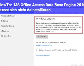 HowTo MS Office Access Data Base Engine 2010 lässt sich nicht deinstallieren