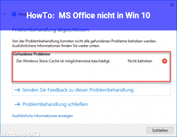 HowTo MS Office nicht in Win 10