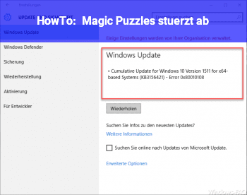 HowTo Magic Puzzles stürzt ab