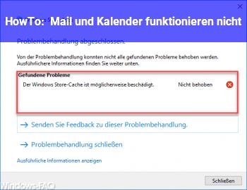 HowTo Mail und Kalender funktionieren nicht