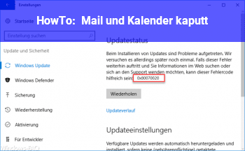 HowTo Mail und Kalender kaputt