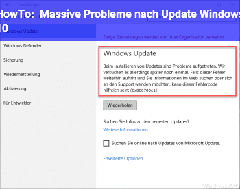 HowTo Massive Probleme nach Update Windows 10