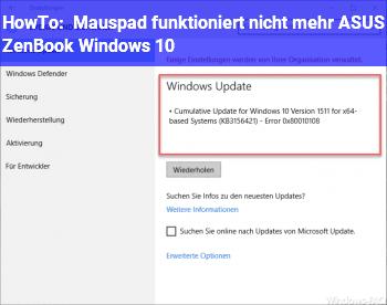 HowTo Mauspad funktioniert nicht mehr ASUS ZenBook Windows 10