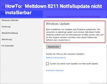 HowTo Meltdown – Notfallupdate nicht installierbar