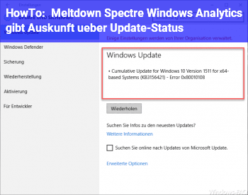 HowTo Meltdown & Spectre: Windows Analytics gibt Auskunft über Update-Status