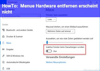 """HowTo Menü """"Hardware entfernen"""" erscheint nicht"""