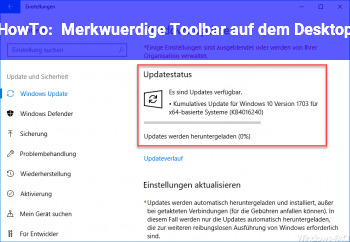 HowTo Merkwürdige Toolbar auf dem Desktop