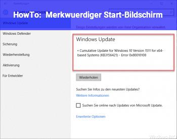 HowTo Merkwürdiger Start-Bildschirm