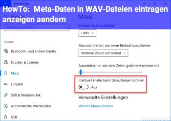 HowTo Meta-Daten in WAV-Dateien eintragen, anzeigen, ändern