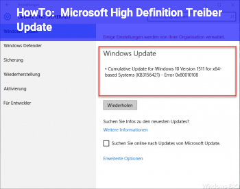 HowTo Microsoft High Definition Treiber Update
