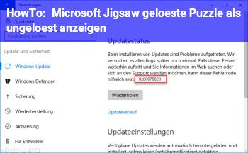 HowTo Microsoft Jigsaw, gelöste Puzzle als ungelöst anzeigen
