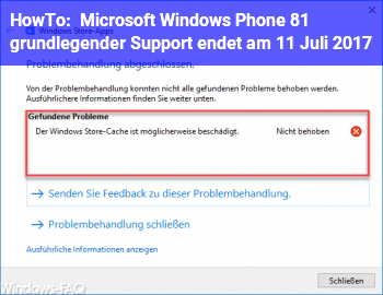HowTo Microsoft Windows Phone 8.1: grundlegender Support endet am 11. Juli 2017