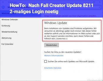 HowTo Nach Fall Creator Update – 2-maliges Login nötig