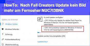HowTo Nach Fall Creators Update kein Bild mehr am Fernseher (NUC7I3BNK)
