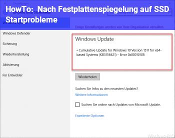 HowTo Nach Festplattenspiegelung auf SSD Startprobleme