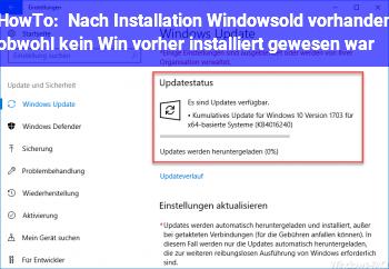 """HowTo Nach Installation """"Windows.old"""" vorhanden, obwohl kein Win vorher installiert gewesen war?"""