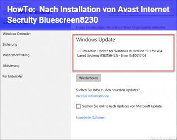 HowTo Nach Installation von Avast ! Internet Secruity Bluescreen…