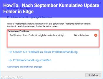 HowTo Nach September Kumulative Update Fehler in Edge
