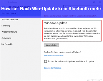 HowTo Nach Win-Update kein Bluetooth mehr