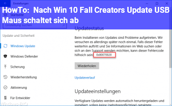 HowTo Nach Win 10 Fall Creators Update: USB Maus schaltet sich ab