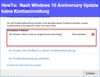 HowTo Nach Windows 10 Anniversary Update keine Kontoanmeldung
