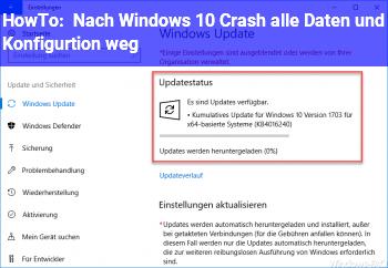 HowTo Nach Windows 10 Crash alle Daten und Konfigurtion weg