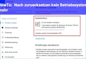 """HowTo Nach """"zurücksetzen"""" kein Betriebssystem mehr"""