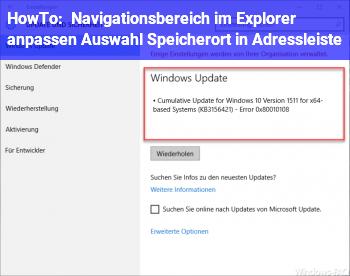 HowTo Navigationsbereich im Explorer anpassen = Auswahl Speicherort in Adressleiste