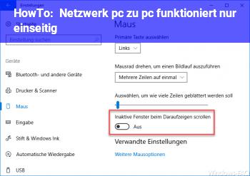 HowTo Netzwerk pc zu pc funktioniert nur einseitig