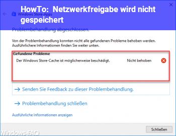 HowTo Netzwerkfreigabe wird nicht gespeichert