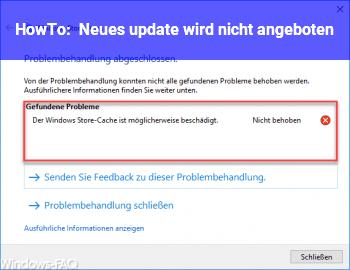 HowTo Neues update wird nicht angeboten