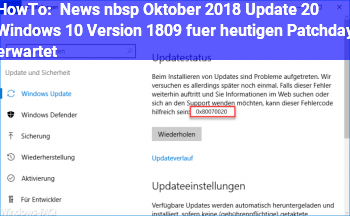 HowTo News   Oktober 2018 Update 2.0: Windows 10 Version 1809 für heutigen Patchday erwartet