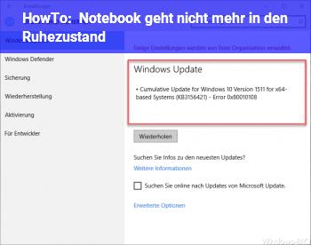 HowTo Notebook geht nicht mehr in den Ruhezustand