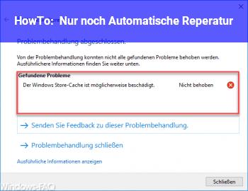 HowTo Nur noch Automatische Reperatur