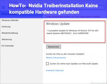 """HowTo Nvidia Treiberinstallation """"Keine kompatible Hardware gefunden""""?"""