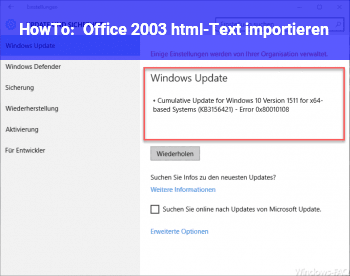 HowTo Office 2003 html-Text importieren