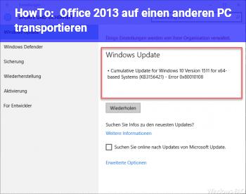 """HowTo Office 2013 auf einen anderen PC """"transportieren"""""""