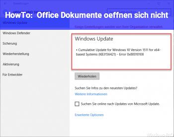 HowTo Office Dokumente öffnen sich nicht