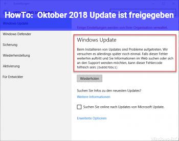 HowTo Oktober 2018 Update ist freigegeben
