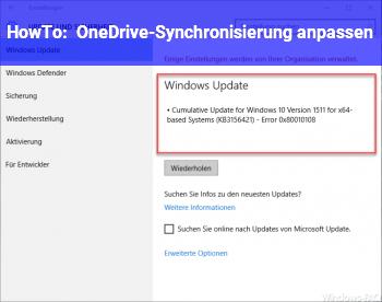 HowTo OneDrive-Synchronisierung anpassen