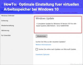 HowTo Optimale Einstellung für virtuellen Arbeitsspeicher bei Windows 10