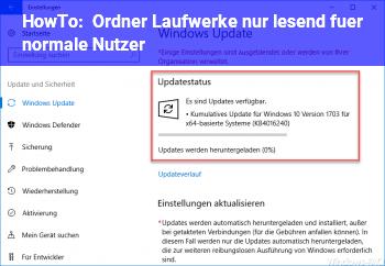 HowTo Ordner / Laufwerke nur lesend für normale Nutzer