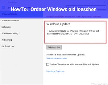 HowTo Ordner Windows old löschen?