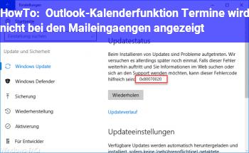 HowTo Outlook-Kalenderfunktion (Termine) wird nicht bei den Maileingängen angezeigt