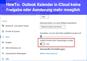 HowTo Outlook Kalender in iCloud keine Freigabe oder Änderung mehr möglich