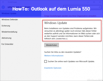 HowTo Outlook auf dem Lumia 550