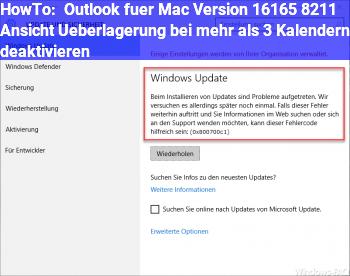 """HowTo Outlook für Mac Version 16.16.5 – Ansicht """"Überlagerung"""" bei mehr als 3 Kalendern deaktivieren"""