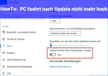 HowTo PC fährt nach Update nicht mehr hoch