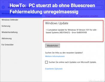 HowTo PC stürzt ab ohne Bluescreen/ Fehlermeldung (unregelmäßig)